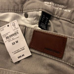 Lands' End gray corduroy pants NWT
